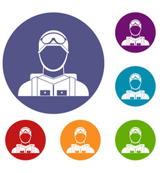 Military paratrooper icons set vector