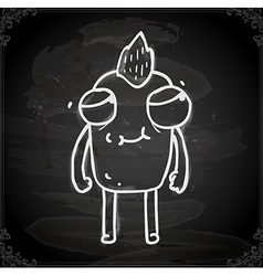 Monster with mohawk drawing on chalk board vector