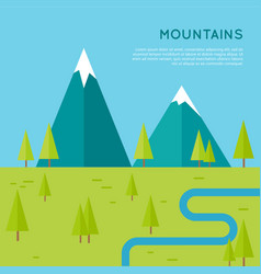 Mountains concept in flat style design vector