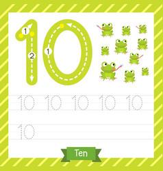 Number 10 animal tracing worksheet vector