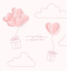 paper art style valentine s day greeting card vector image