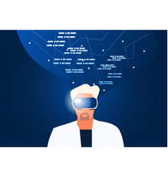 Person using vr headset vector