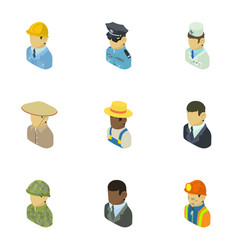 personage icons set isometric style vector image