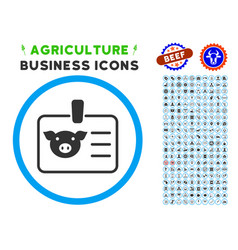 Pig badge rounded icon with set vector