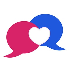 pink and blue bubble chat with heart vector image