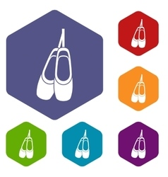 Pointe shoes icons set vector