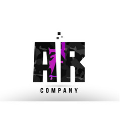 Purple black alphabet letter ar a r logo vector