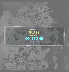 Realistic glass banner on concrete background vector