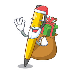 santa with gift antique ink pen shape on cartoon vector image