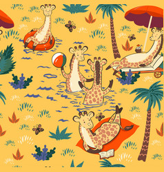 seamless pattern with giraffes on vacation vector image