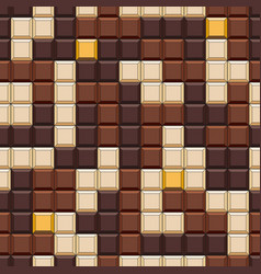 seamless pattern with tetris made chocolate vector image