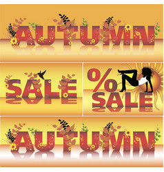 set autumn sale poster design template vector image
