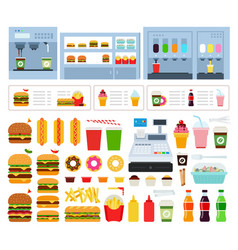 set dining room icons flat vector image