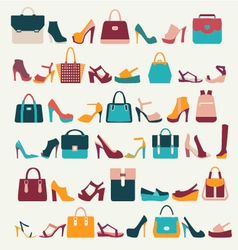 Set icons of Women bags and shoes vector image