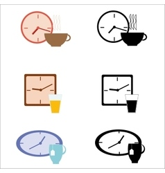 Set of clocks and drink vector image