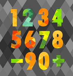 Set of numbers with geometric pattern vector image vector image