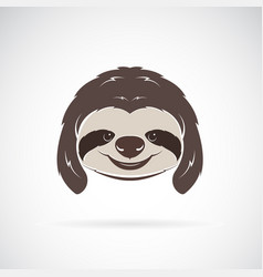 sloth head on white background wild animals vector image