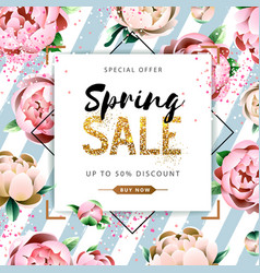 Spring sale poster with full blossom flowers vector