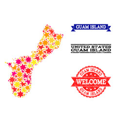 Star mosaic map of guam island and rubber vector