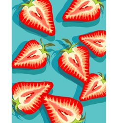 strawberries on blue vector image