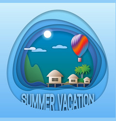 summer vacation logo template sea resort with vector image