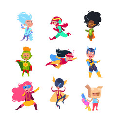 superhero kids children wearing in superheroes vector image