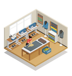 Tailor atelier isometric composition vector