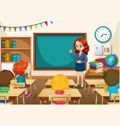 Teacher teaching students in classroom scene vector