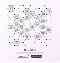 teamwork concept in honeycombs vector image