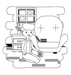 teenager boy cartoon with dog food design vector image