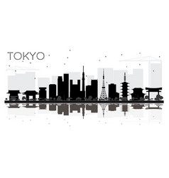 Tokyo japan city skyline black and white vector