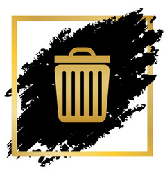 trash sign golden icon at vector image