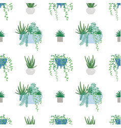 trendy houseplants seamless pattern vector image