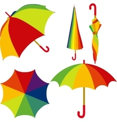 Umbrella Set of colorful open and closed umbrella vector