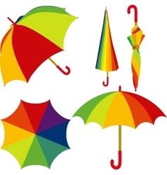 Umbrella set of colorful open and closed umbrella vector