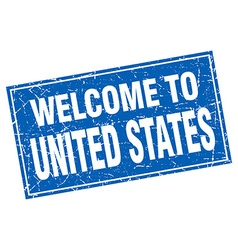 United States blue square grunge welcome to stamp vector