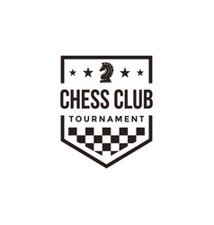 vintage classic badge emblem chess logo vector image
