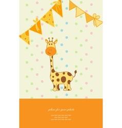 Vintage doodle little giraffe for greeting card vector image