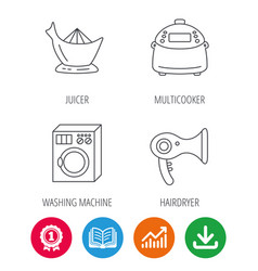 Washing machine multicooker and hair dryer icons vector