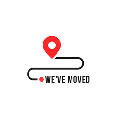 we moved minimal icon with pin vector image