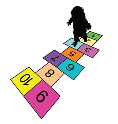 Child play hopscotch game silhouette vector