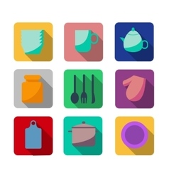 flat kitchen and cooking icons vector image
