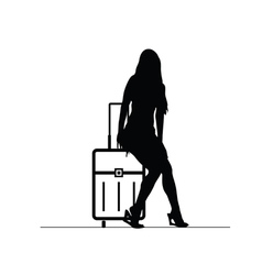 girl with travel bag silhouette vector image vector image
