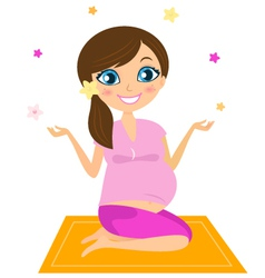 Pregnant yoga woman vector image vector image
