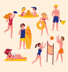 summer activities on the beach sport and leisure vector image vector image