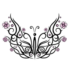 Butterfly cherry blossoms vector image vector image