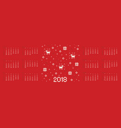calendar 2018 with cross stitch dog pixel art vector image vector image