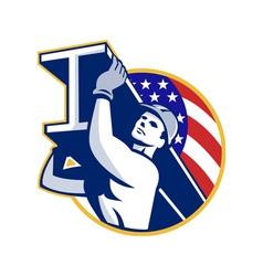 Construction Steel Worker I-Beam American Flag vector image vector image