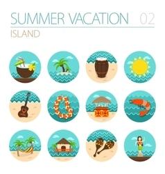 Island beach icon set Summer Vacation vector image vector image