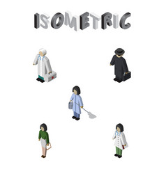 Isometric people set of doctor pedagogue vector